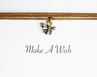 Make A Wish Bee Bracelet - Bohemian Jewellery, Friendship Bracelet, Boho Style, Tiny Bee Charm, Choose Color
