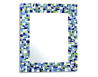 Wall Mirror Decorative Mosaic in Green, White and Blue Tile in 4 Sizes – Great as a Bathroom Mirror