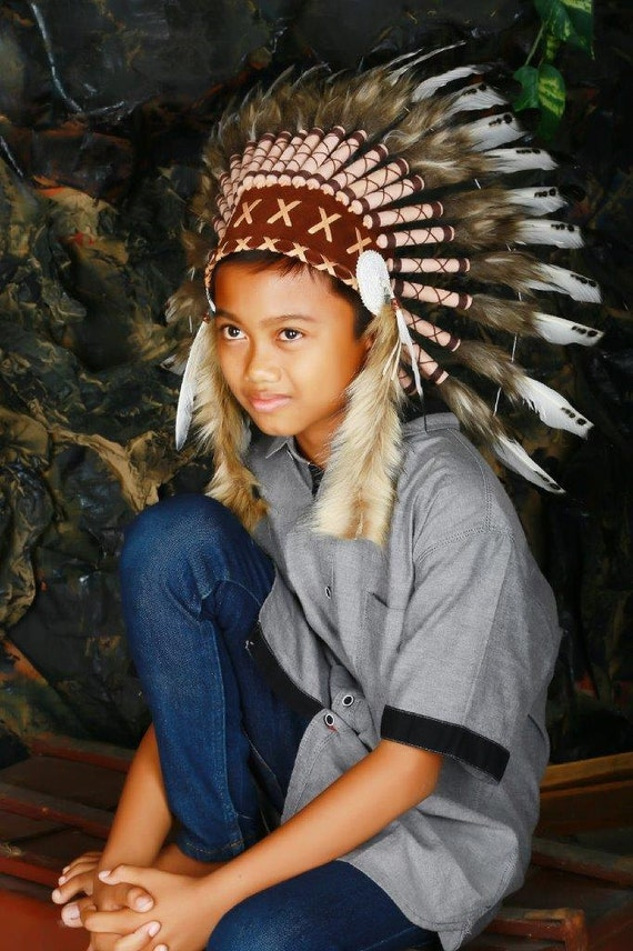 From 5-8 years Kid / Child's: Indian white and black swan feather Headdress 21 inch. – 53,34 cm.