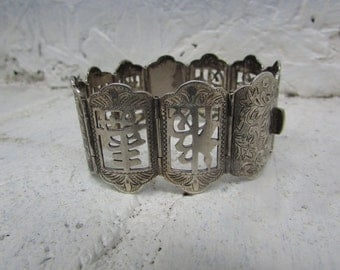 "Genuine Silver Asian Ten Panel Bracelet. So Gorgeous. Vintage 950 Silver 7-3/8"" Length"