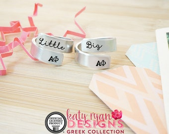 Alpha Phi Big Little Wrap Ring Set - ΑΦ Big Little Sorority - Official Licensed Product - ΑΦ Big Little Reveal - Hand Stamped Wrap Rings