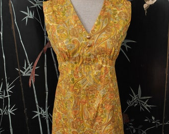 1960s Yellow Paisley Print Mini Dress - Small
