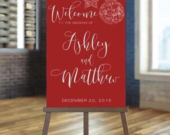 Printable Wedding Sign, Welcome Wedding Sign, Winter Wedding Sign, Christmas wedding Sign, Red Wedding Sign, Snowflakes Sign, Custom sign