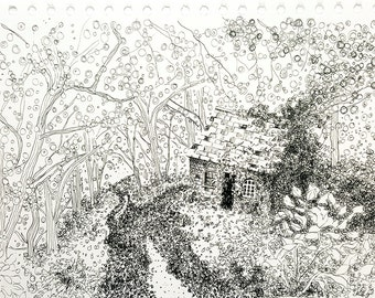 Original Ink Drawing of a Cottage in the Forest