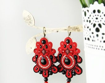 Red soutache earrings, chandelier earrings, red dangle earrings, hand embroidered red statement earrings, Soutache jewelry, onyx earrings