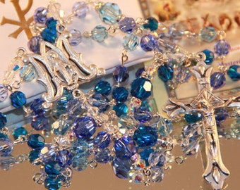 Catholic Swarovski Crystal Rosary in Blues