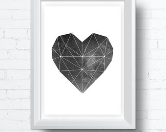 Abstract Geometric Heart Printable Wall Art Download with Moon Surface inlay. Contemporary Modern (various sizes) Gallery Wall Print