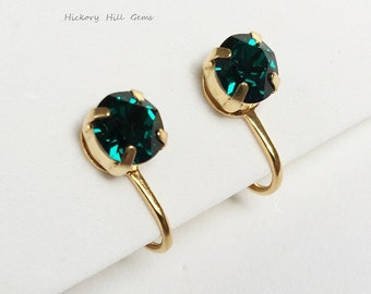 Green Crystal Clip-on Earrings Swarovski elements Crystal EMERALD rhinestone clip on earrings Green stone Non-pierced Earrings, Gold plated