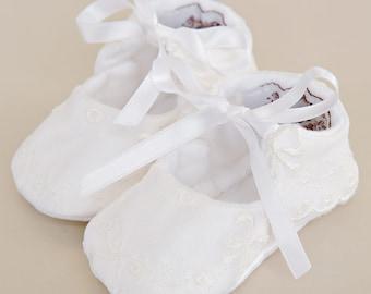 Natalia Silk Christening Shoes, Baptism Baby Shoes, Infant Girl Shoes