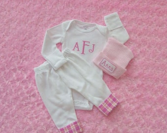 Newborn Girl Take Home from the Hospital. Monogram Bodysuit. Pants with Plaid Seersucker cuff. Coming Home Outfit. Newborn Baby Girl Outfit