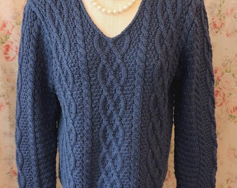 80s Sweater Pullover - Paul James - Blueberry Wool Chunky Knit Jumper - Cable Stitch - Made in England - Classic - Excellent Condition - Med