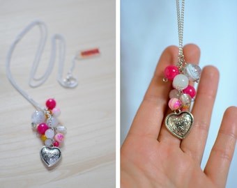 Necklace heart and bunch of pink, white and yellow beads - silver - glamour necklace - fantasy jewelry - colorful and feminine jewelry
