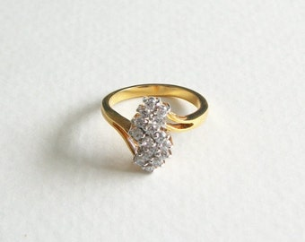 Vintage 14K Gold Plated Rhinestone Ring Gold Tone Ring Size 7 Vintage Antique Jewelry