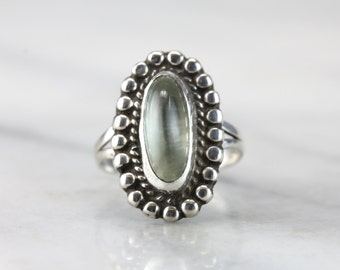 The Green Lady: Soft, Unusual Moss Green Moonstone and Sterling Silver Ring  07CWF1-N