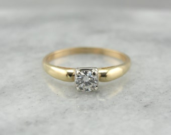 Classic Diamond Engagement Ring in Yellow and White Gold  PKYEUX-N