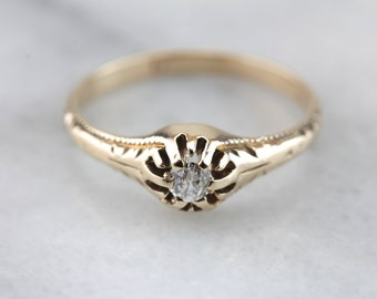 An Old Mine Crown: Victorian Diamond Engagement Ring  KCNRKQ-D