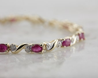 Ruby and Diamond Classic Tennis Bracelet  7D290J-R
