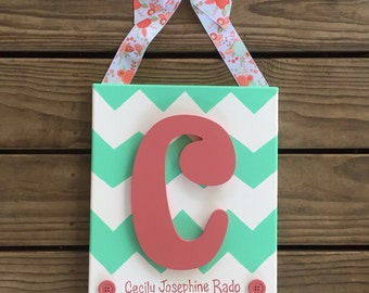 Personalized Initial Canvas for Nursery Kids Room or Hospital Door - Mint & Coral