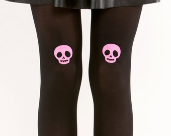 Pink glitter skull tights/ Halloween tights / Goth tights pantyhose