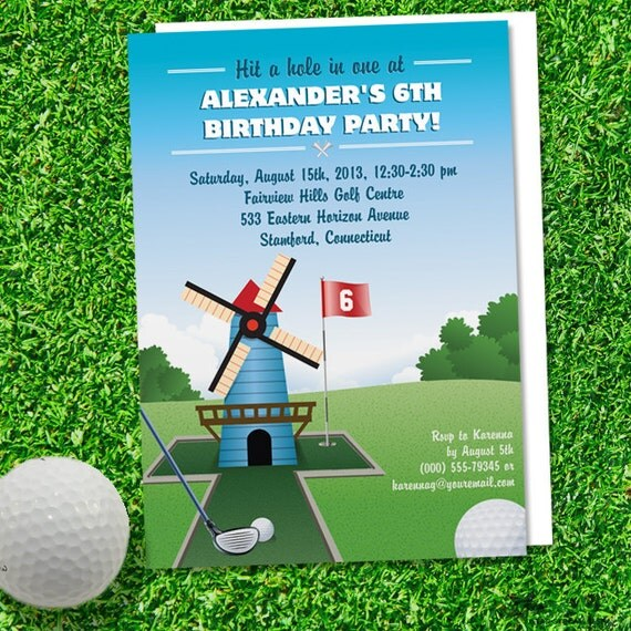 Windmill mini golf birthday party invitation printable evite or il570xn filmwisefo