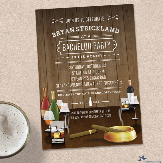 Cigars and Scotch Rustic Masculine Bachelor Party Stag Night – Stag Party Invitation