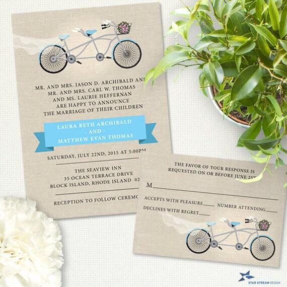 Tandem Bicycle Wedding Stationery Set, Invitation And RSVP