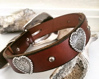 Leather dog collar with heart conchos, brown, silver, western