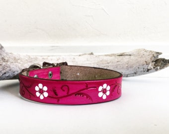 Pink leather dog collar with white flower accents, daisy, daisies