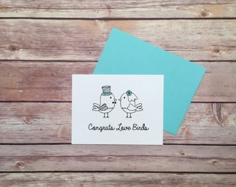 Wedding Card - Engagement Card -  Congratulations Card - Congrats Love Birds