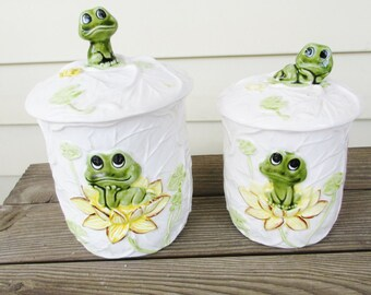 Neil The Frog Canisters Ceramic 1978 Sears and Roebuck Retro Kithen Storage
