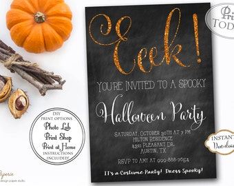 INSTANT DOWNLOAD - Fully EDITABLE Halloween Party Invitation - Costume Party Invite - Gold Glitter Black Chalkboard Halloween Party