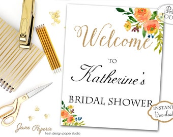 INSTANT DOWNLOAD - Orange Yellow Floral Baby OR Bridal Shower Welcome Sign - Boho Welcome Sign - Welcome Print - Floral Shower - 0146 - 0158