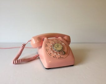 Vintage Pink Telephone, Rotary Dial Table Top Phone, Automatic Electric Phone, Retro Phone, Vintage Office, Retro Office, Shabby Chic Decor