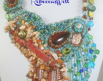 Pebble Beach- Ocean inspired bead embroidery necklace