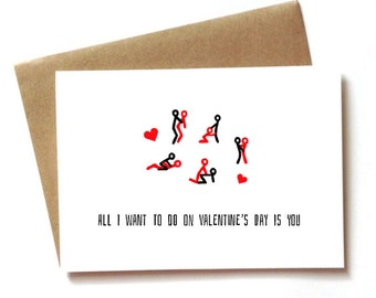 Dirty Valentineu0027s Day Card, Sexy Naughty Valentineu0027s Day Card For  Boyfriend, Girlfriend, Wife