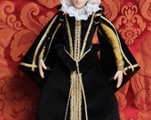 Elizabethan-Style Doll Wearing Black Velvet Gown, as shown on the cover of The Tudor Child book