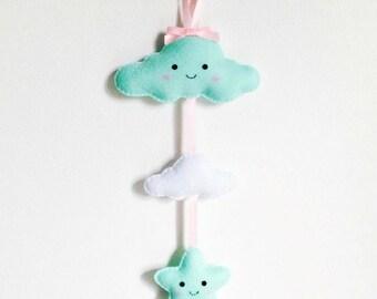 Pastel Nursery Kids Bedroom Cloud & Star Mobile Wall Hanging ~ MADE TO ORDER