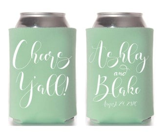 Personalized Can Coolers, Wedding Favors, Cheers Can Cooler, Custom Can Coolers, Beer Can Cooler, Drink Insulator, Drink Holder, Beer Sleeve