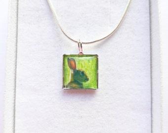 Rabbit Pendant Necklace, Animal Jewelry, Silver Square 12mm Pendant, Original Handmade Photo Jewellery Jewelry, Cute Bunny Necklace
