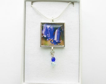 Bluebell Pendant Necklace, Wild Bluebell Flower, English Bluebell, Bluebell Flower Jewellery, Original Handmade Photo Jewellery Jewelry