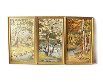 Vintage Paint by Numbers Paintings Triptych Set of 3 Seasons