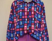 Vintage 70s Joan Leslie Mulitcolored Blouse // Size M/L