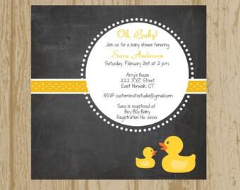 Baby Shower Invitation, Printable Baby shower invitation, Custom Baby Shower invitation, Rubber Duck Shower Invitation, New baby invitation
