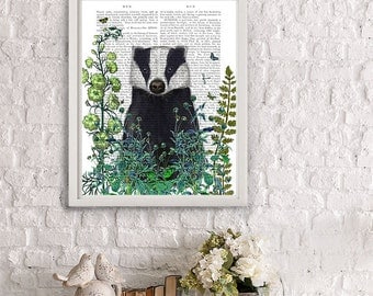 Badger Print - Badger in Garden badger art print gardening gift gardeners gift badger gift badger portrait badger painting garden art summer