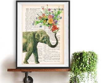 Art Print Elephant blowing Flowers, Elephant print, Flower Art, Elephant in love,  Printed over vintage French book page, Paris print