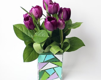 Geometric Hand Painted Glass Vase, Green, Purple, White, Blue, Teal, Graphic, Rectangular, Square, Triangle, Interior Design, Decor, Gift