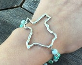 Deep in the Heart of Texas Bracelet - Unique Blue and Green Adjustable bracelet - Genuine Stone bracelet - Silver Metal Texas Bracelet