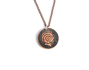 Etched coin Spiral queen pendant necklace