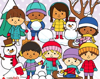 Winter Kids Clipart and Lineart - personal and commercial use