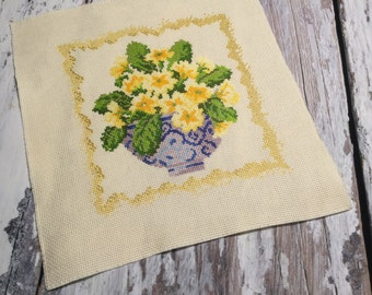 Cross Stitch Sampler . Unframed Finished Completed Cross Stitch . Yellow Violas in Vase . Floral Cross Stich . Flowers .